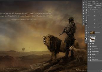 Lion Lamb and Solider Landscape PSD Background