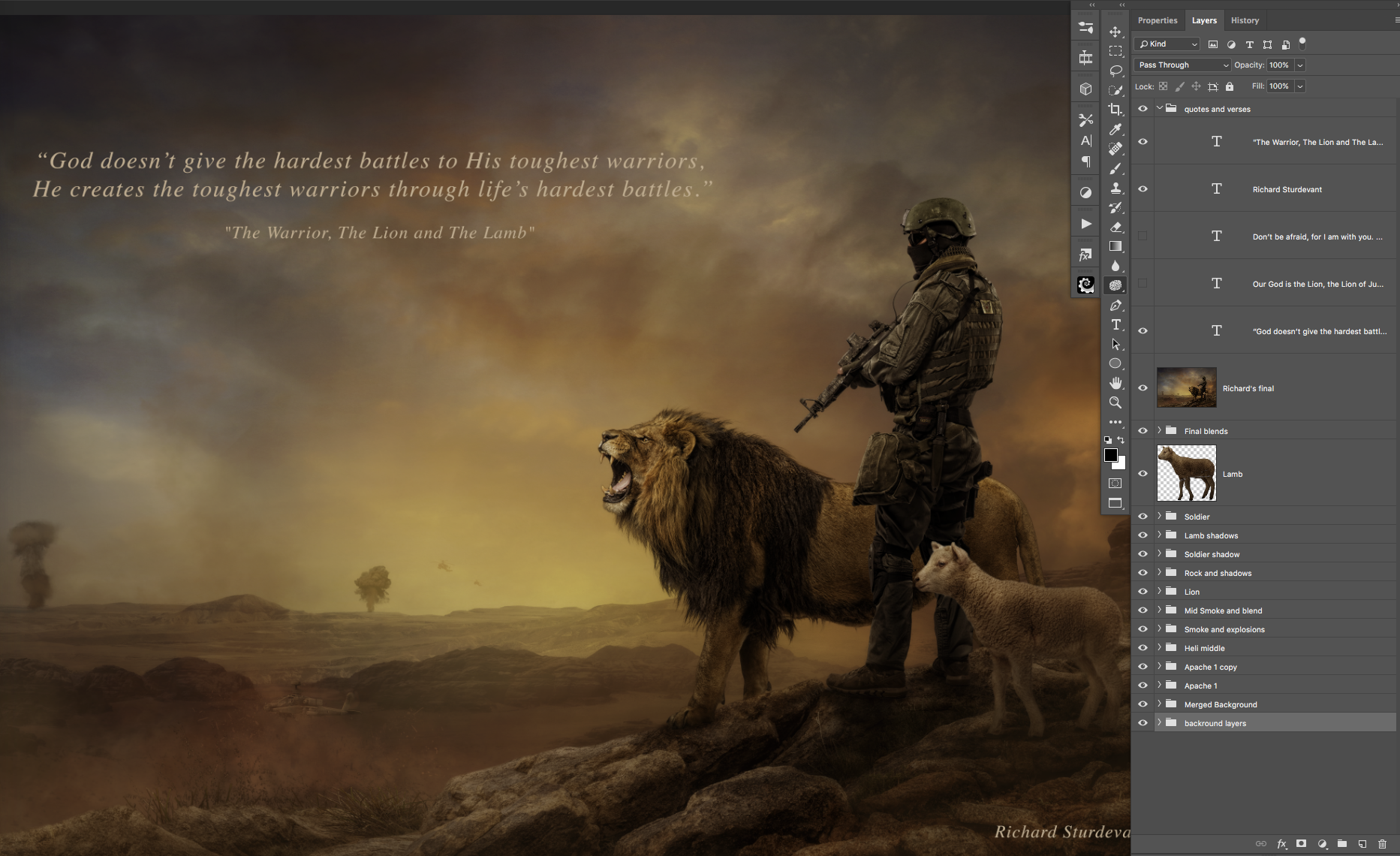 Lion Lamb and Solider Landscape PSD Background
