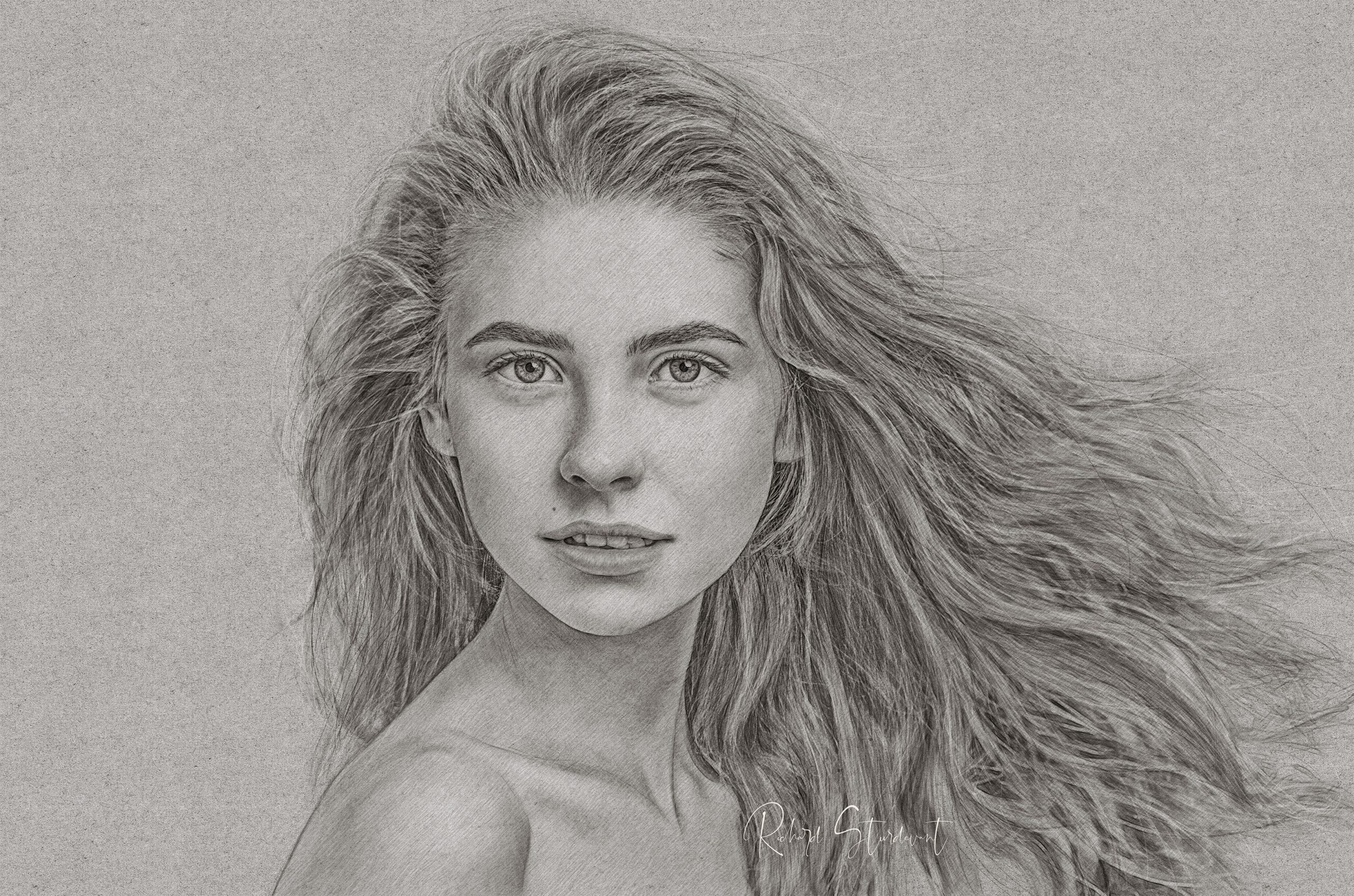 Girl Pencil Portrait fb 2